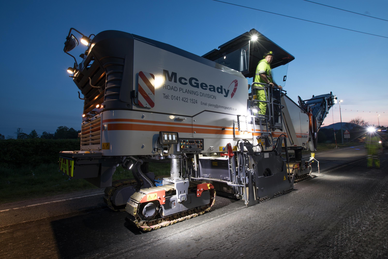 A McGeady planer working at night