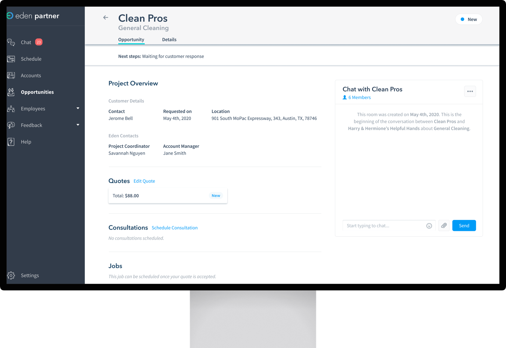 Project request details with Clean Pros partner