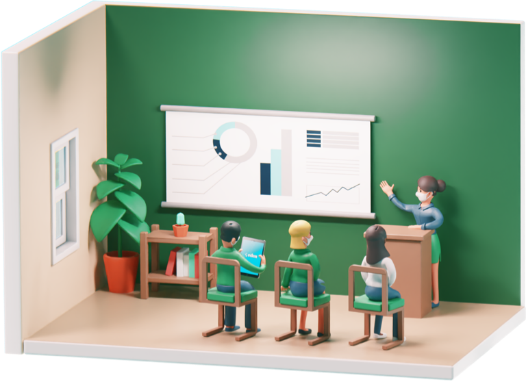 Instructor training three employees with charts and graphs