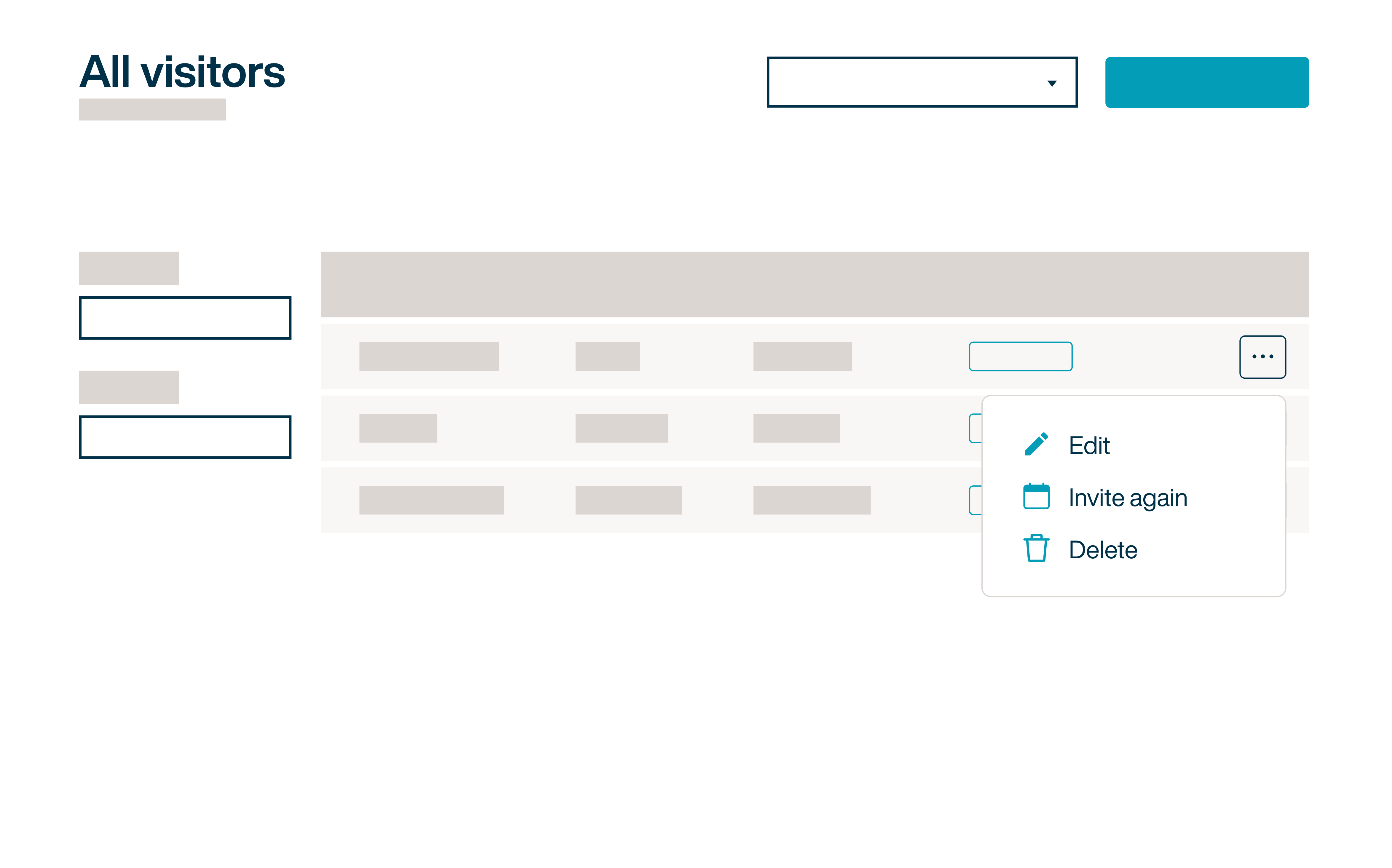 Visitor management dashboard with invite visitor again button