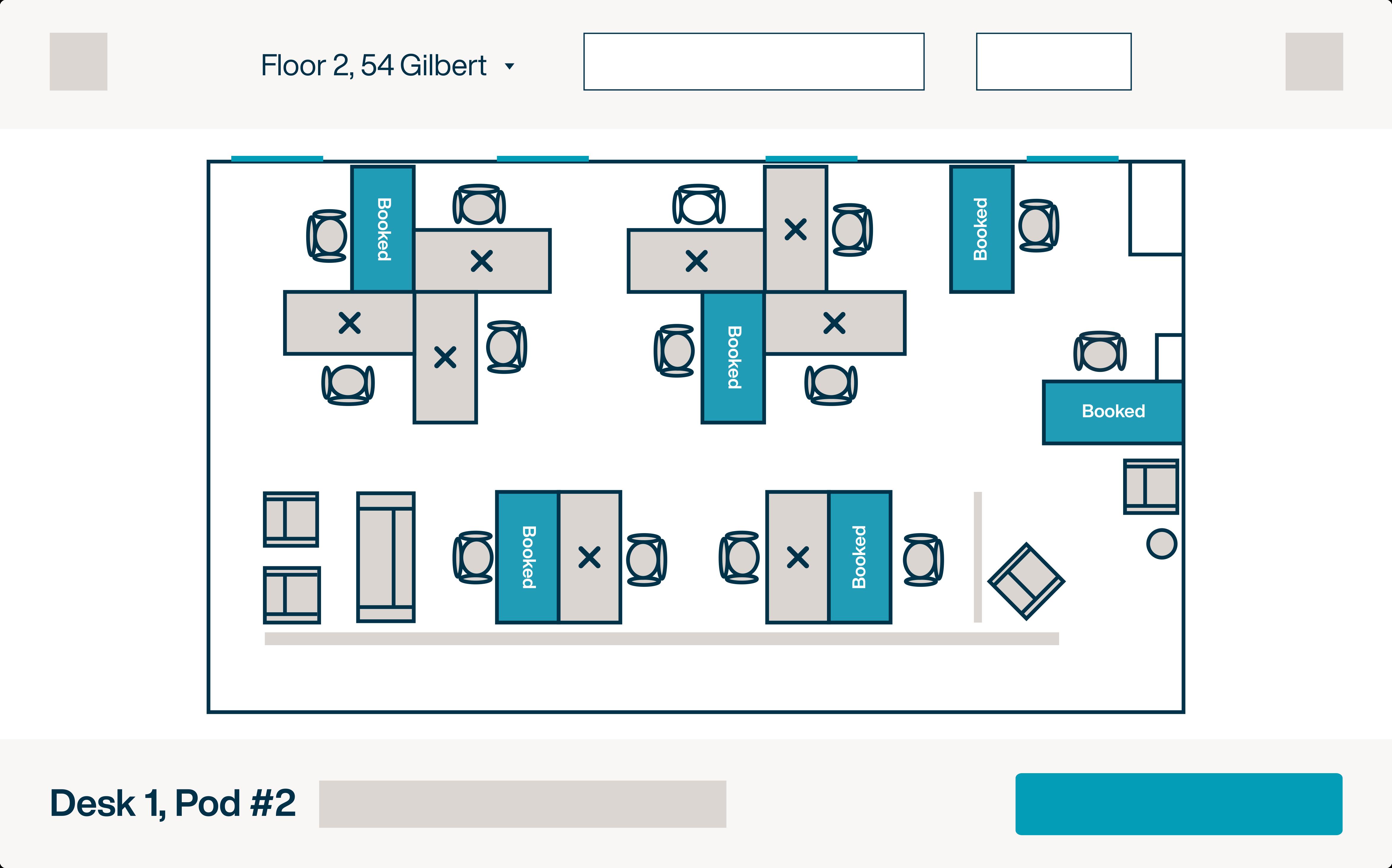 Desk booking floor plan