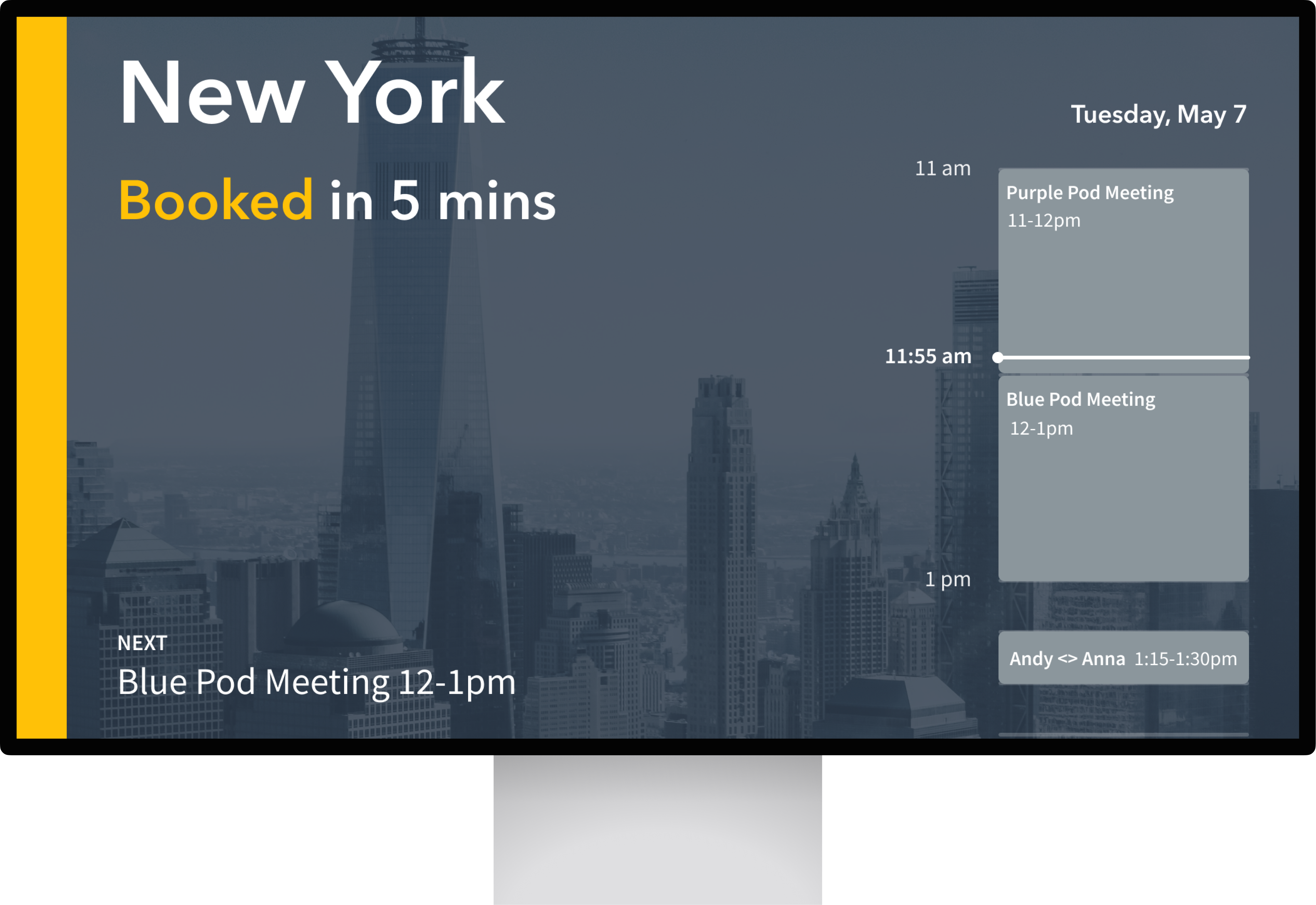 Room scheduling display with reserved meetings