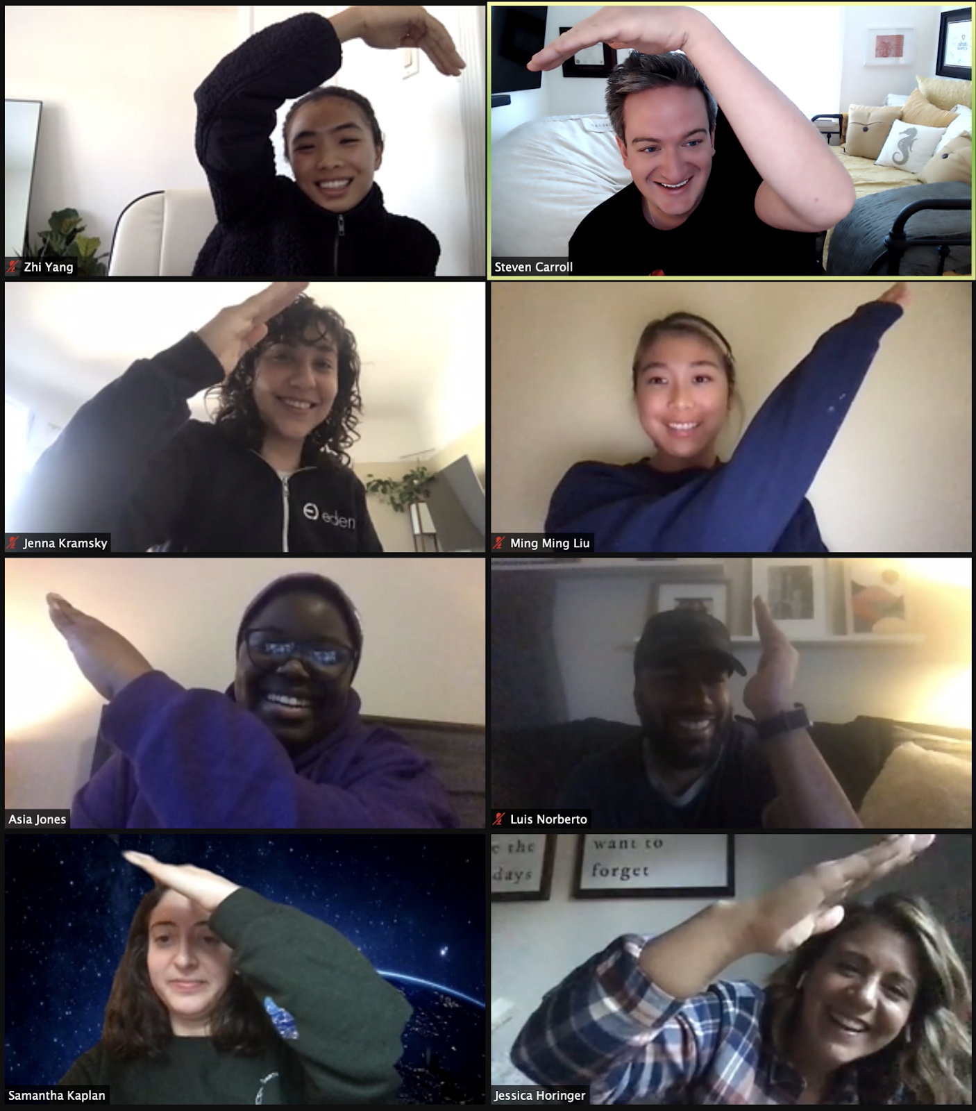 A screenshot of 8 Zoom participants posing to create 1 giant Zoom heart