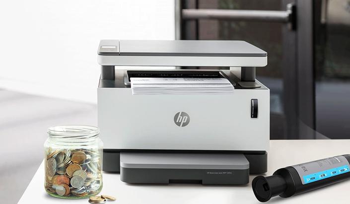 image of a printer, ink cartridge, and money jar