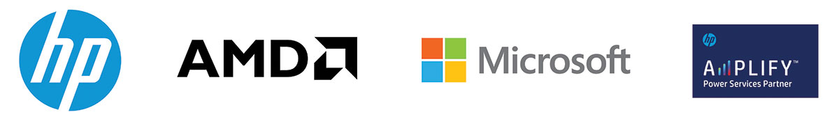 Four Logos for HP, AMD, Microsoft, and Amplify