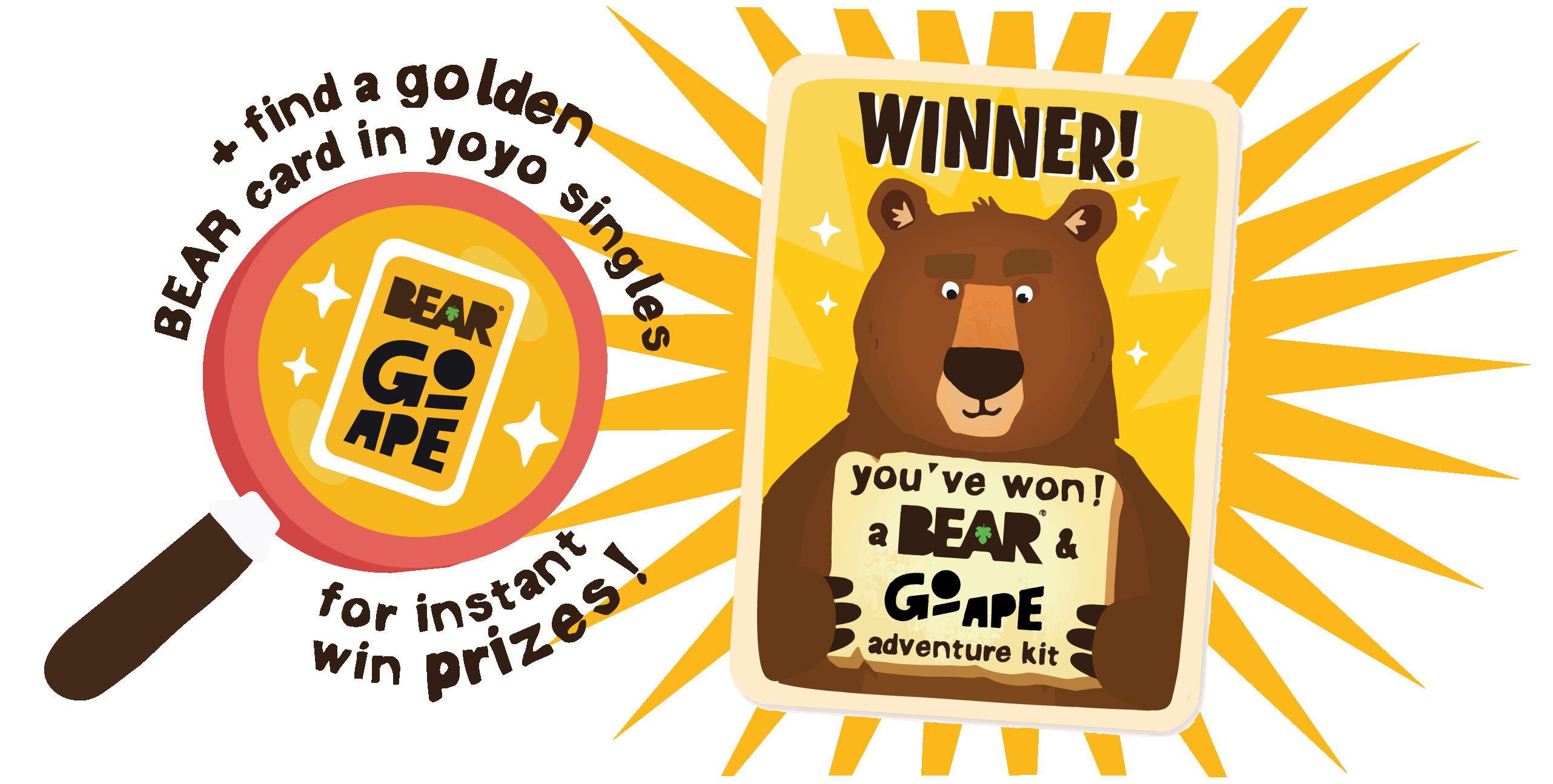 Find a golden BEAR Card tin yo yo singles for instant win prizes