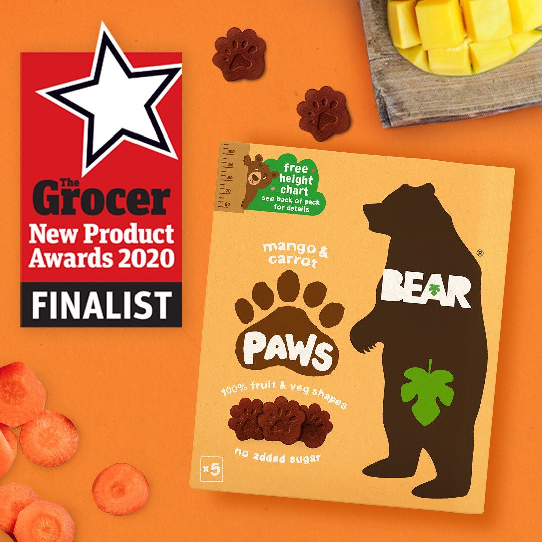 🎉 Grrreat news! 🎉 Our Mango & Carrot BEAR PAWS have been shortlisted as a finalist for @thegrocerofficial New Product Awards! Paws crossed - the winners are announced tomorrow 🤞 🐻 🐾 ⁣ ⁣ #BEARsnacks...