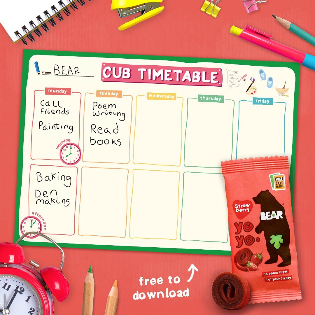 Are your cubs dizzy from juggling all the BEARilliant things they want to do everyday? We've got a grrreat Cub Timetable on BEAR's Activity Cave to help schedule everything from school work to arts...
