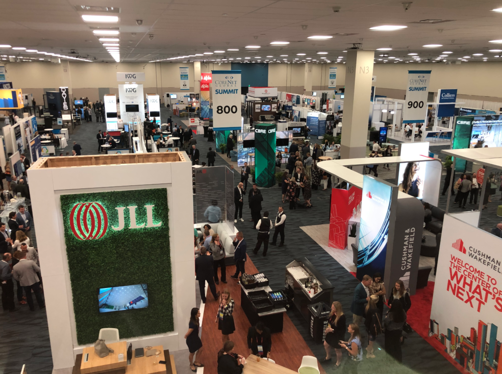 A section of the CoreNet Summit Global exhibitor showroom 2019