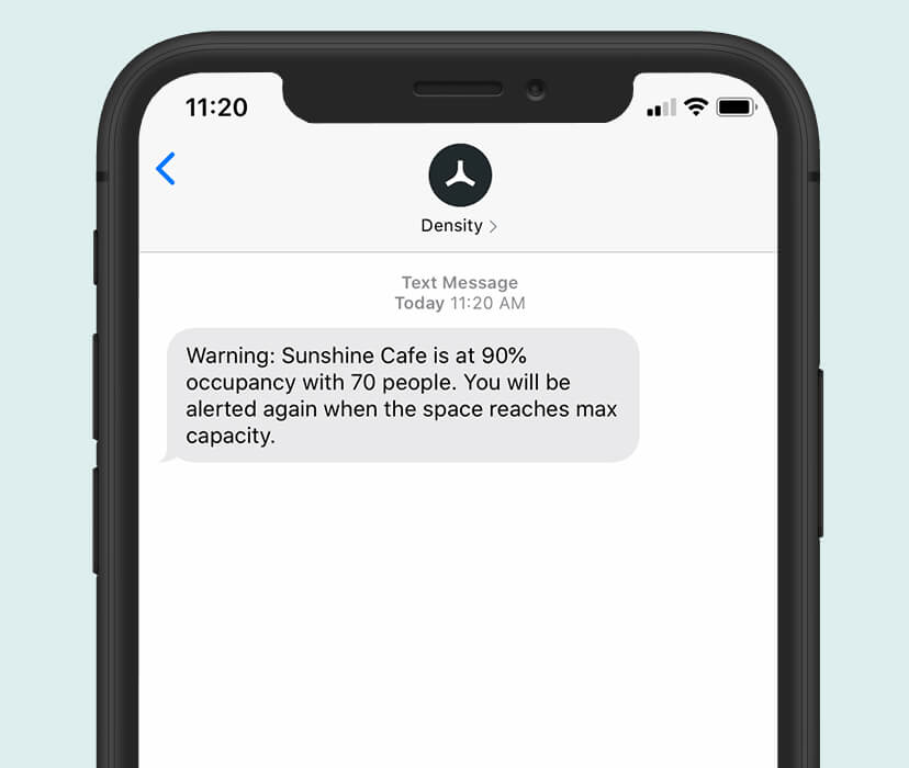 mobile alerts for safe capacity limits in office cafeterias