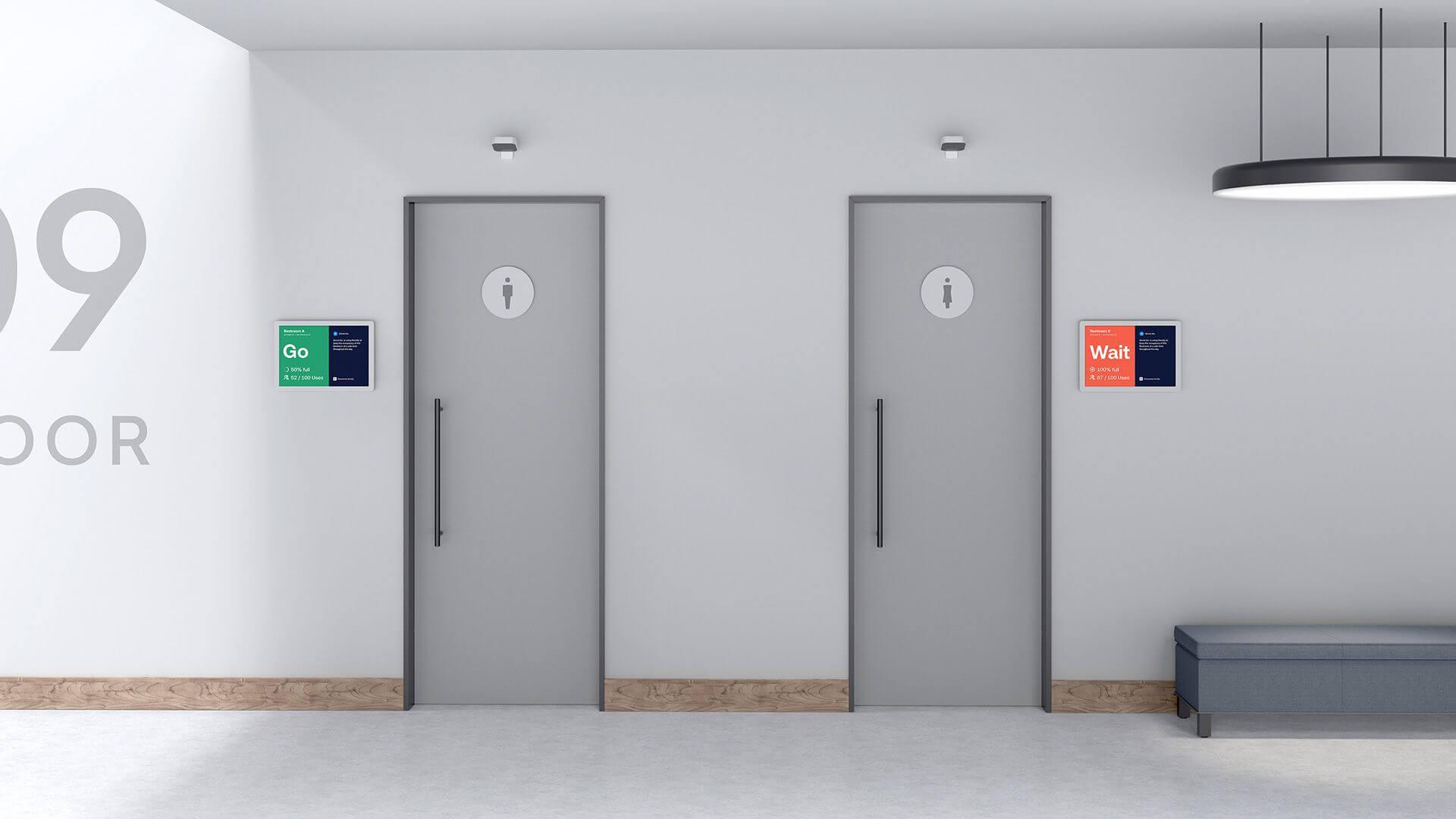 Density Safe Displays outside office restrooms.