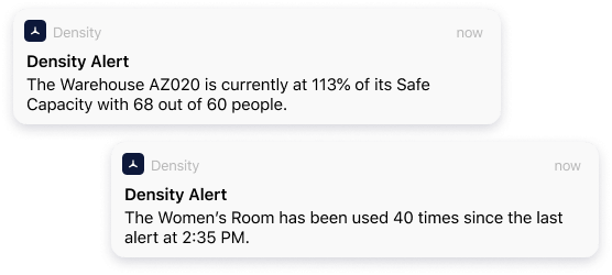 Density Alerts sent directly to key stakeholders' phones.