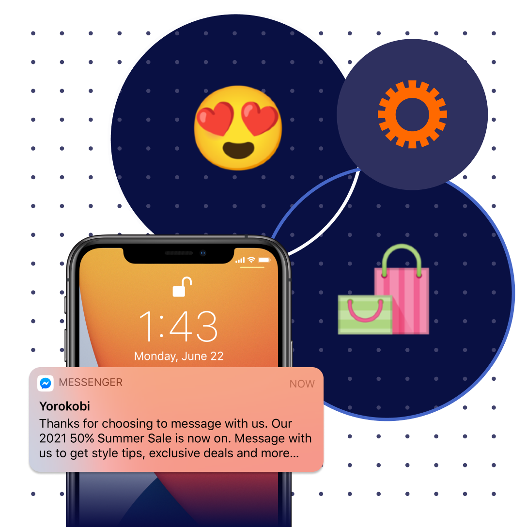 A red-headed woman in an orange sweater smiling as she texts on her phone; an abstract conversation is overlayed showing a proactive text from a retailer