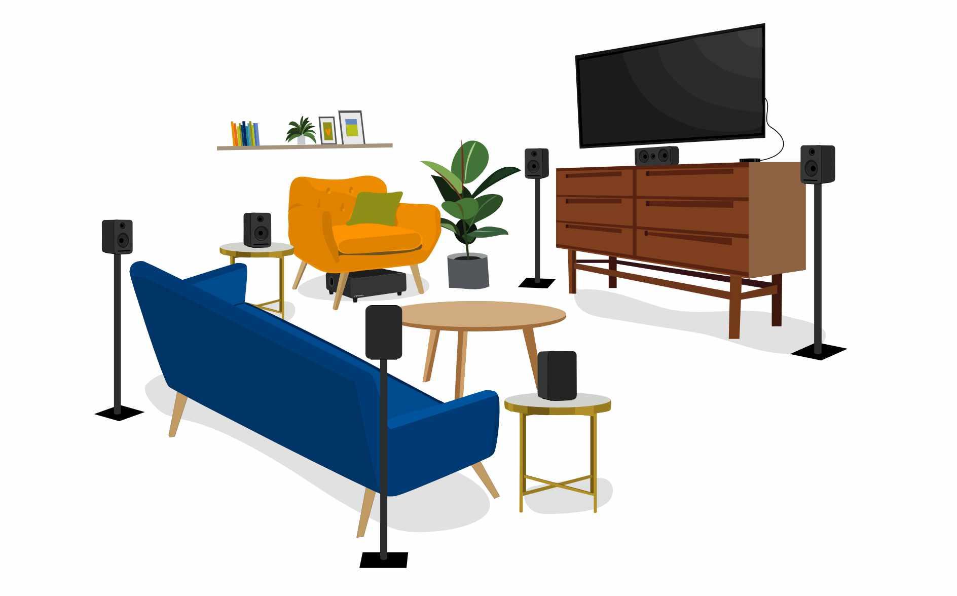 a cartoon living room full of Platin speakers