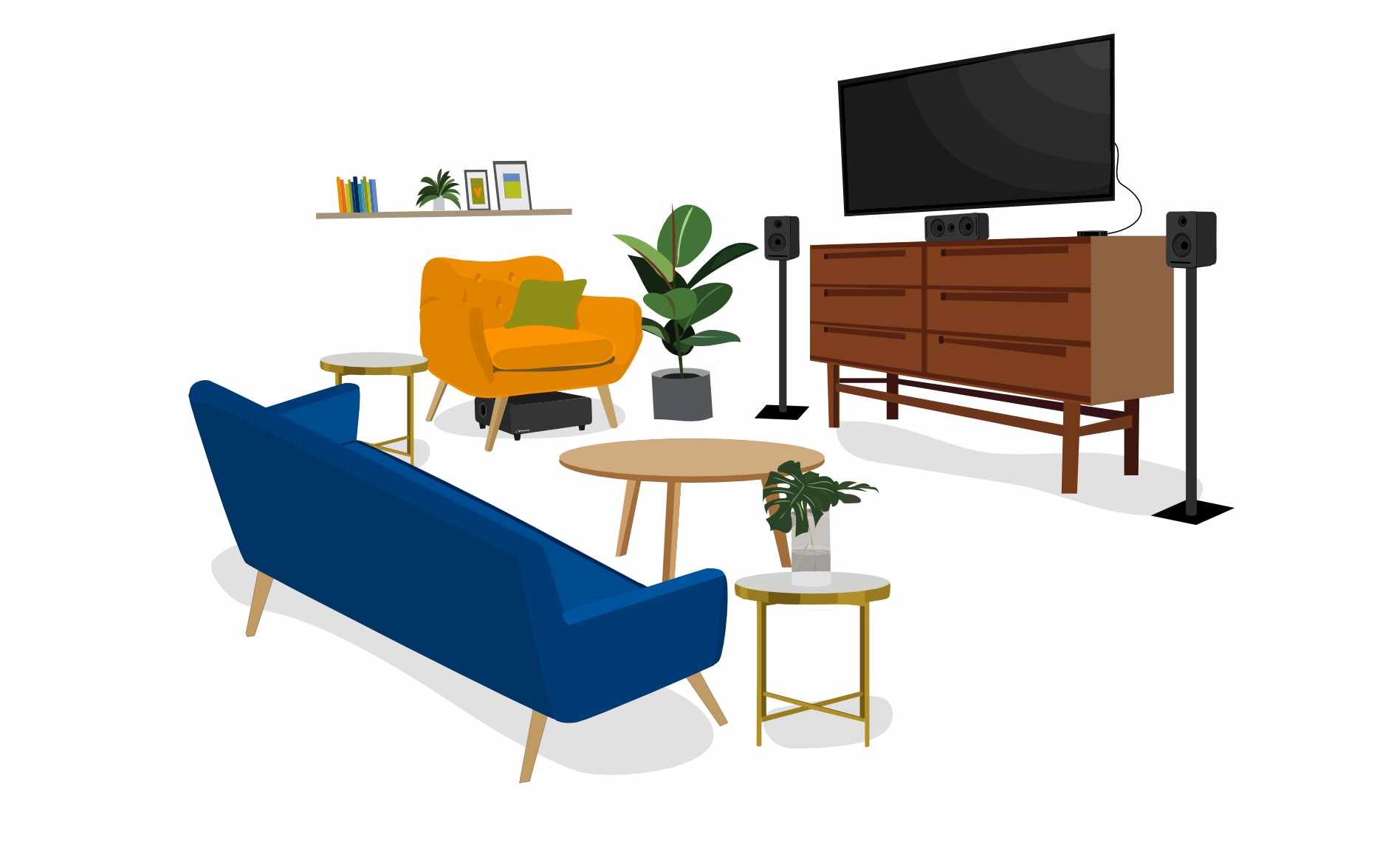 pastel living room illustration with platin monaco 3.1 speaker setup