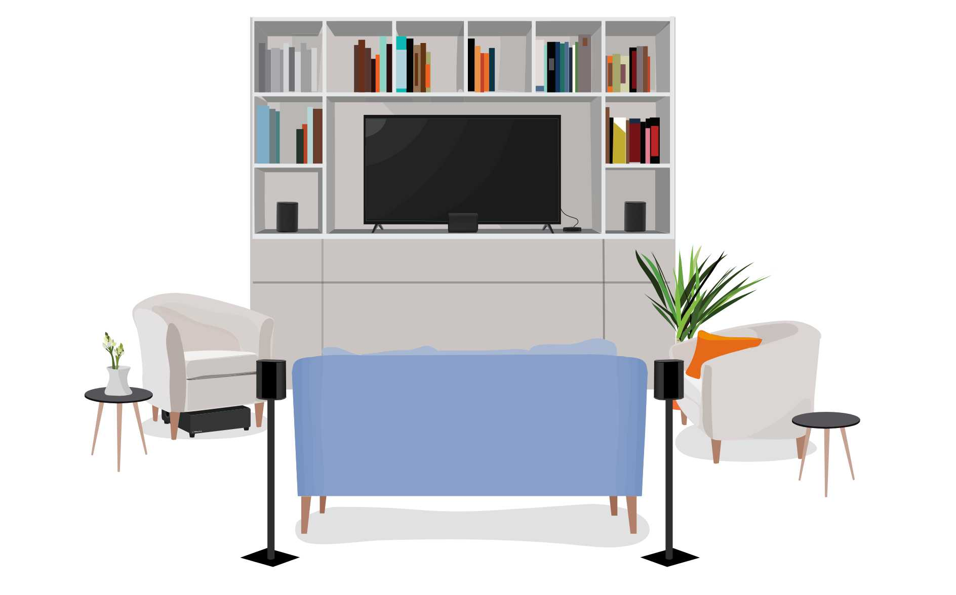 Cartoonish living room with tv, entertainment center, and speakers