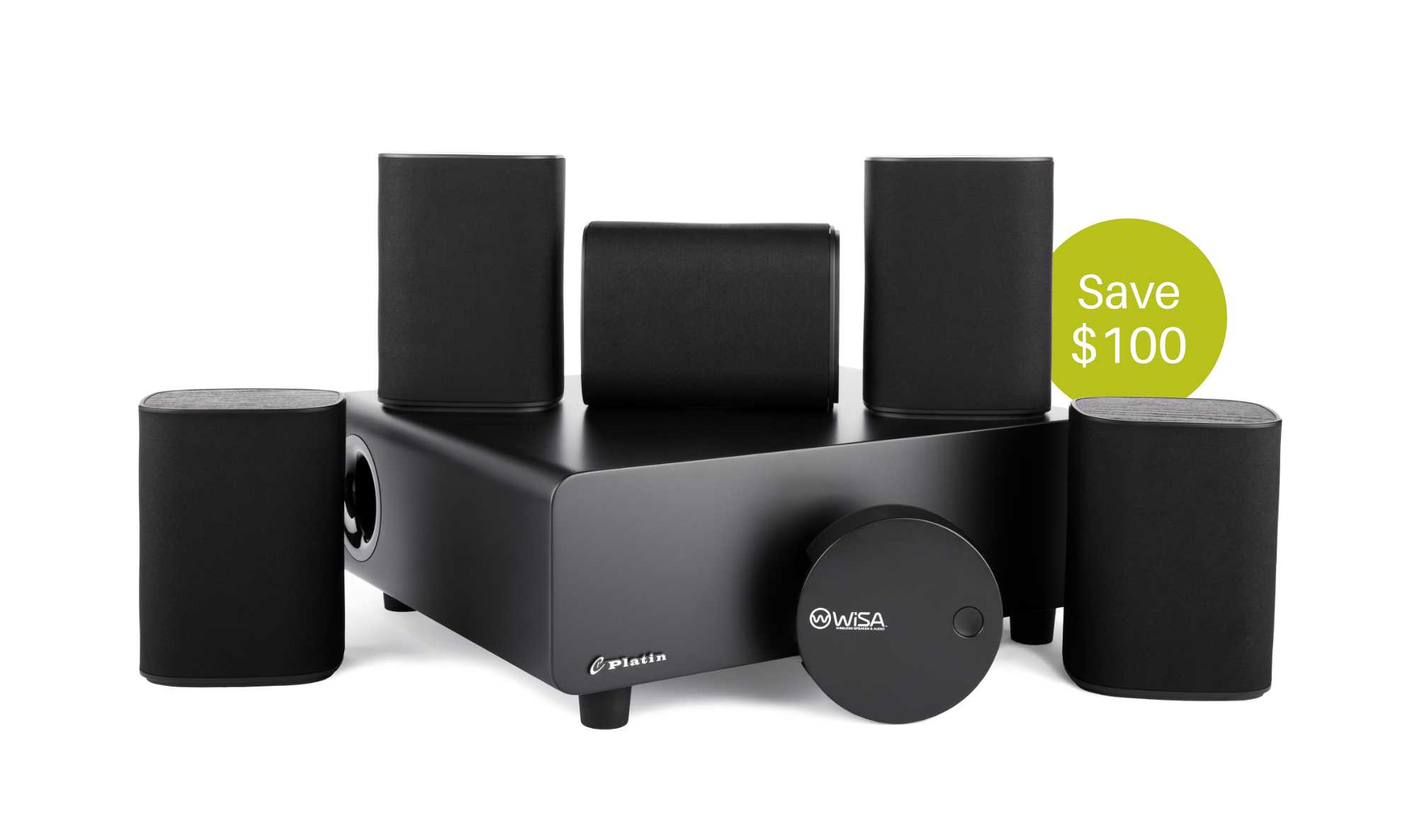 Milan 5.1 speakers with Wireless Transmitter with a green circle that has save 100 inside it