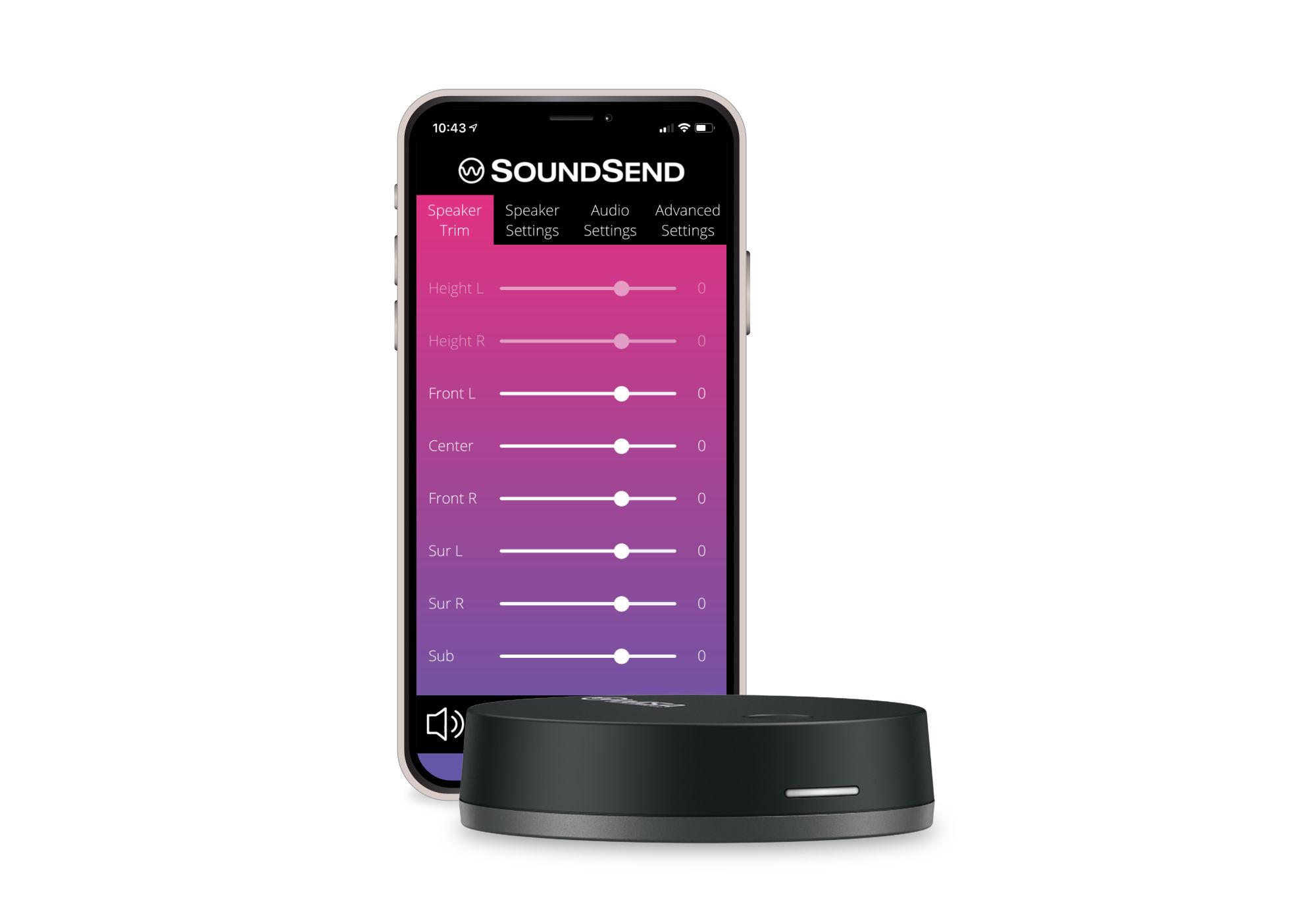 SoundSend App open on a phone