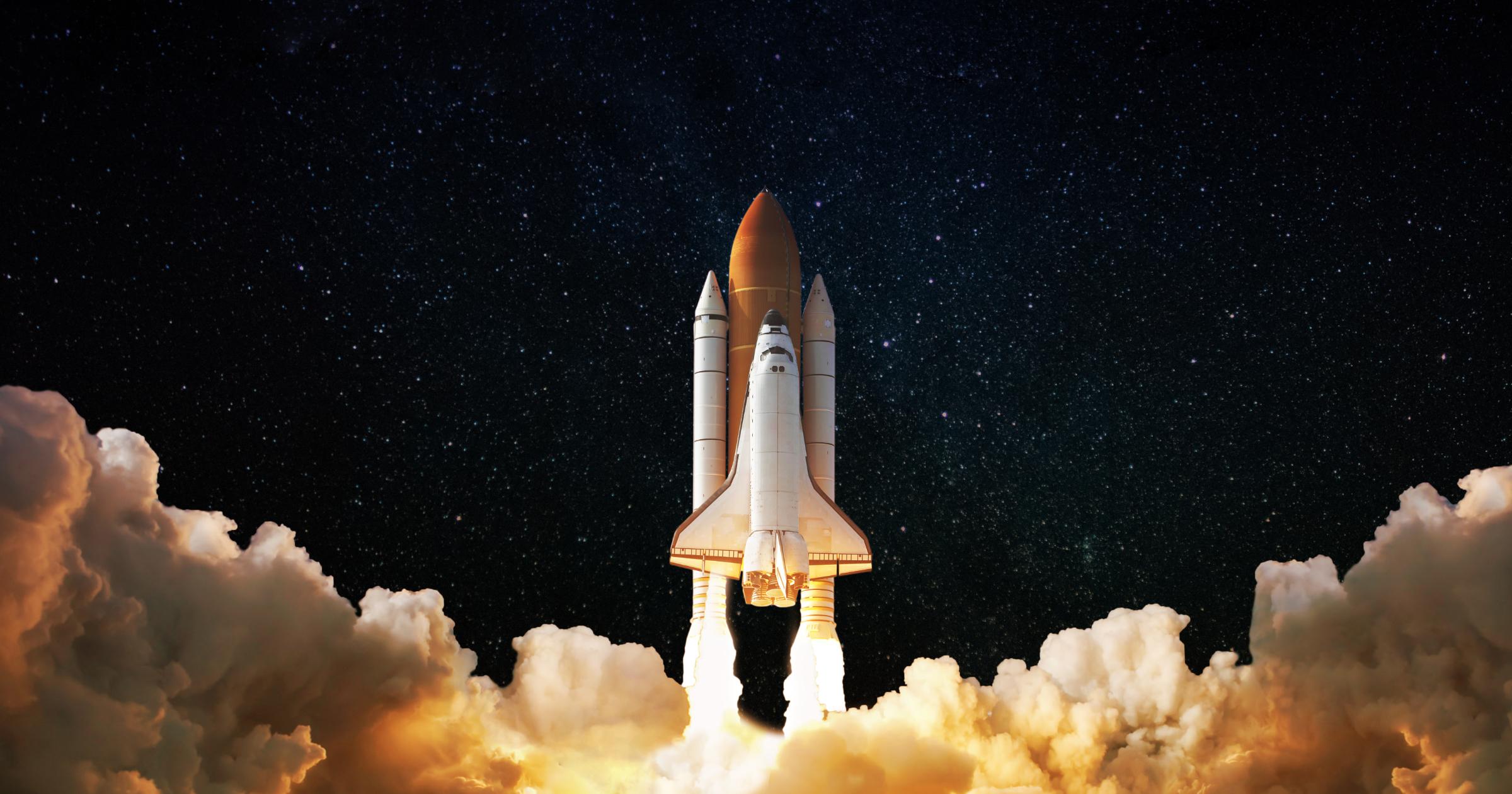 Challenger rocket taking off