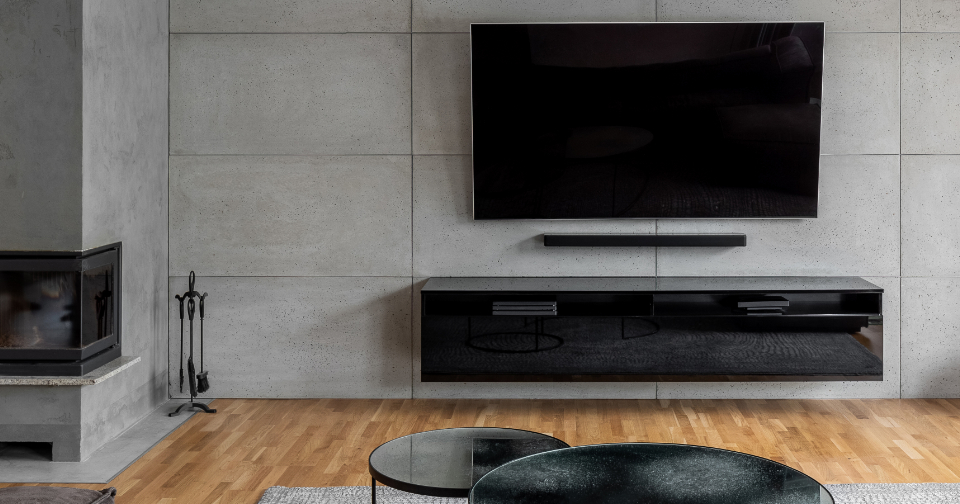 Modern designed living room with a large flat screen TV