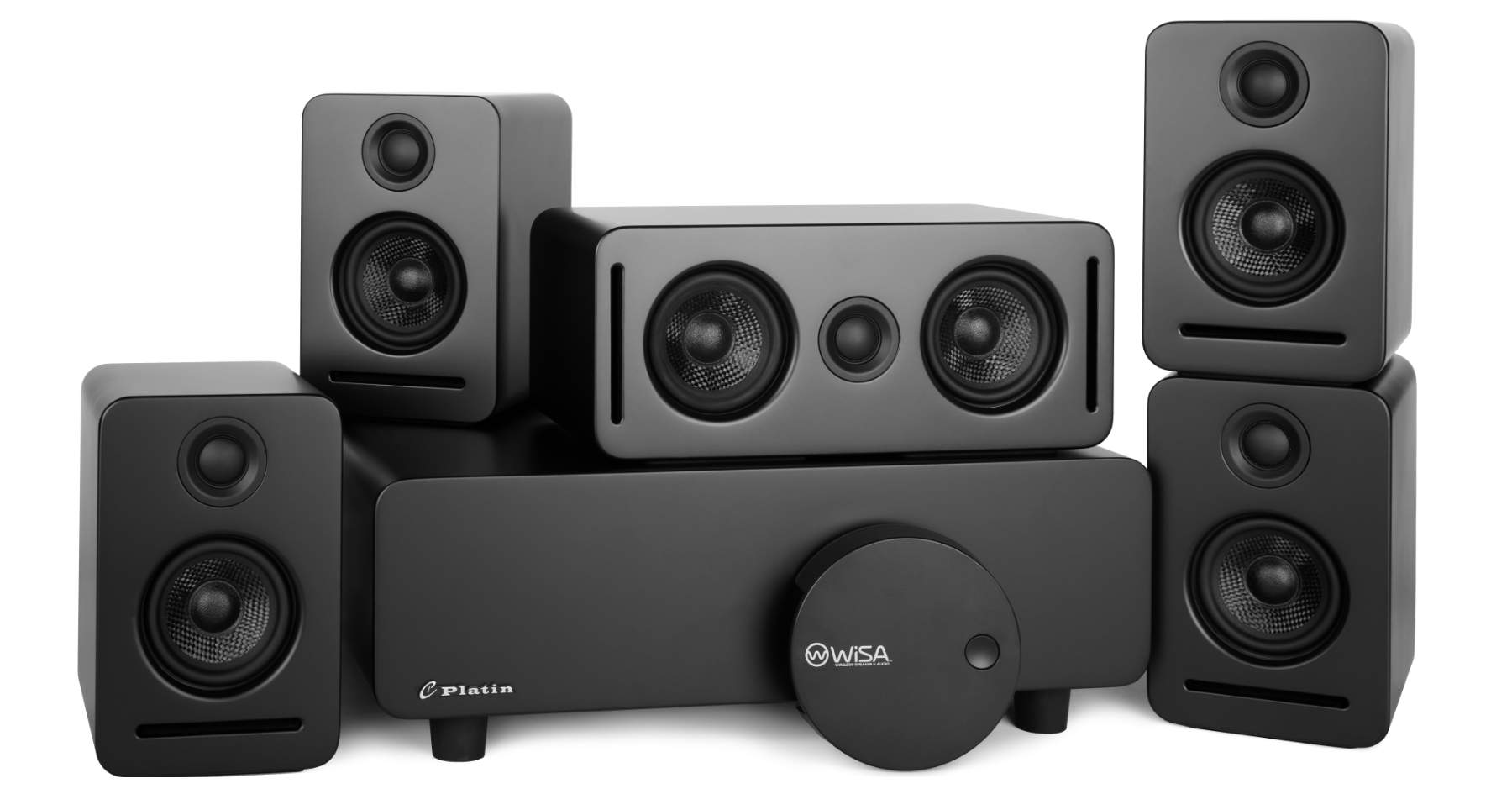 Platin Monaco 5.1 sound system with subwoofer, center-channel speaker, four satellite speakers, and WiSA SoundSend wireless audio transmitter