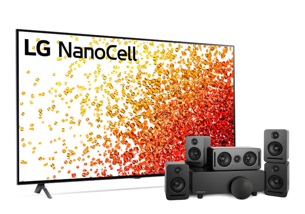 """LG 55"""" NanoCell 90 Series Ultra High Definition 4K Smart TV with Monaco 5.1 Sound system over white background"""