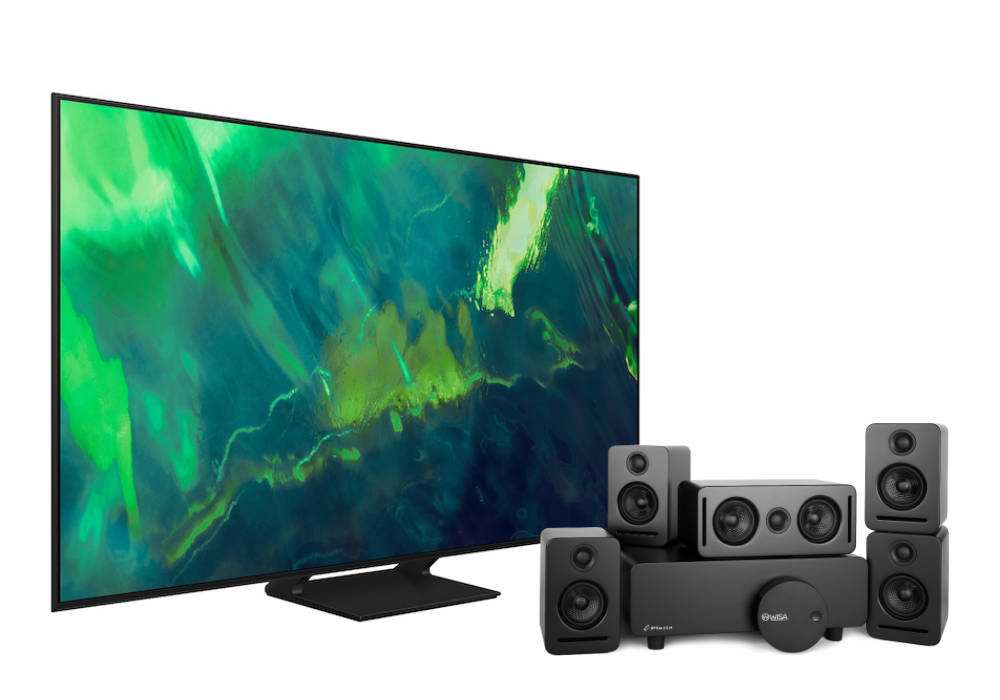 """Samsung 65"""" Q70A QLED 4K Smart TV with Monaco 5.1 sound system and WiSA SoundSend audio transmitter over white background"""