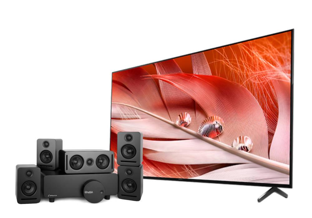 "Sony 50"" 4K High Dynamic Range Bravia Smart TV with Monaco 5.1 sound system and WiSA SoundSend audio transmitter over white background"