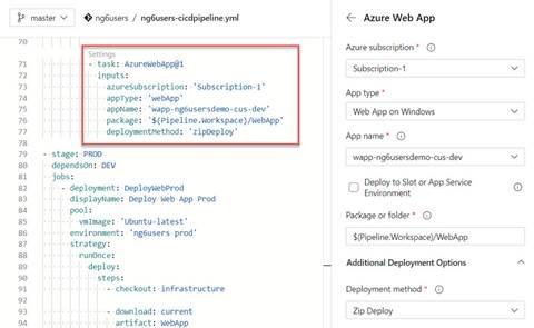 YAML markup for Azure Web App