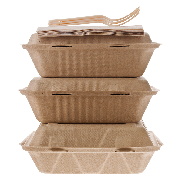Three restaurant takeout to-go boxes stacked