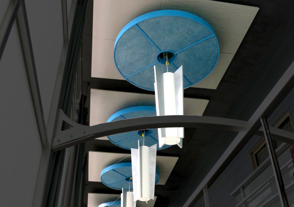 Sonus circle and square acoustic clouds hang from a 30 foot ceiling