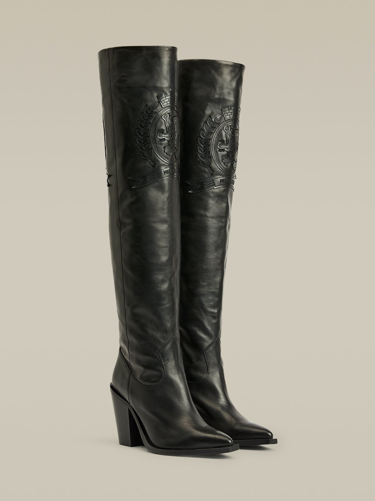 Crest Embroidery Over-Knee Boots