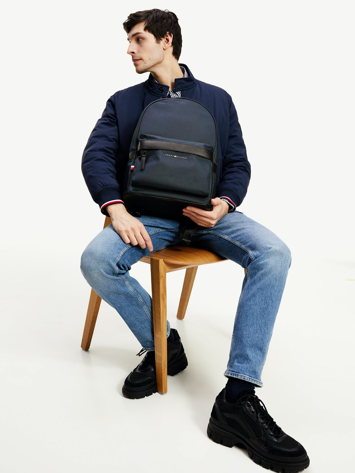 CONTRAST TRIM RECYCLED POLYESTER BACKPACK