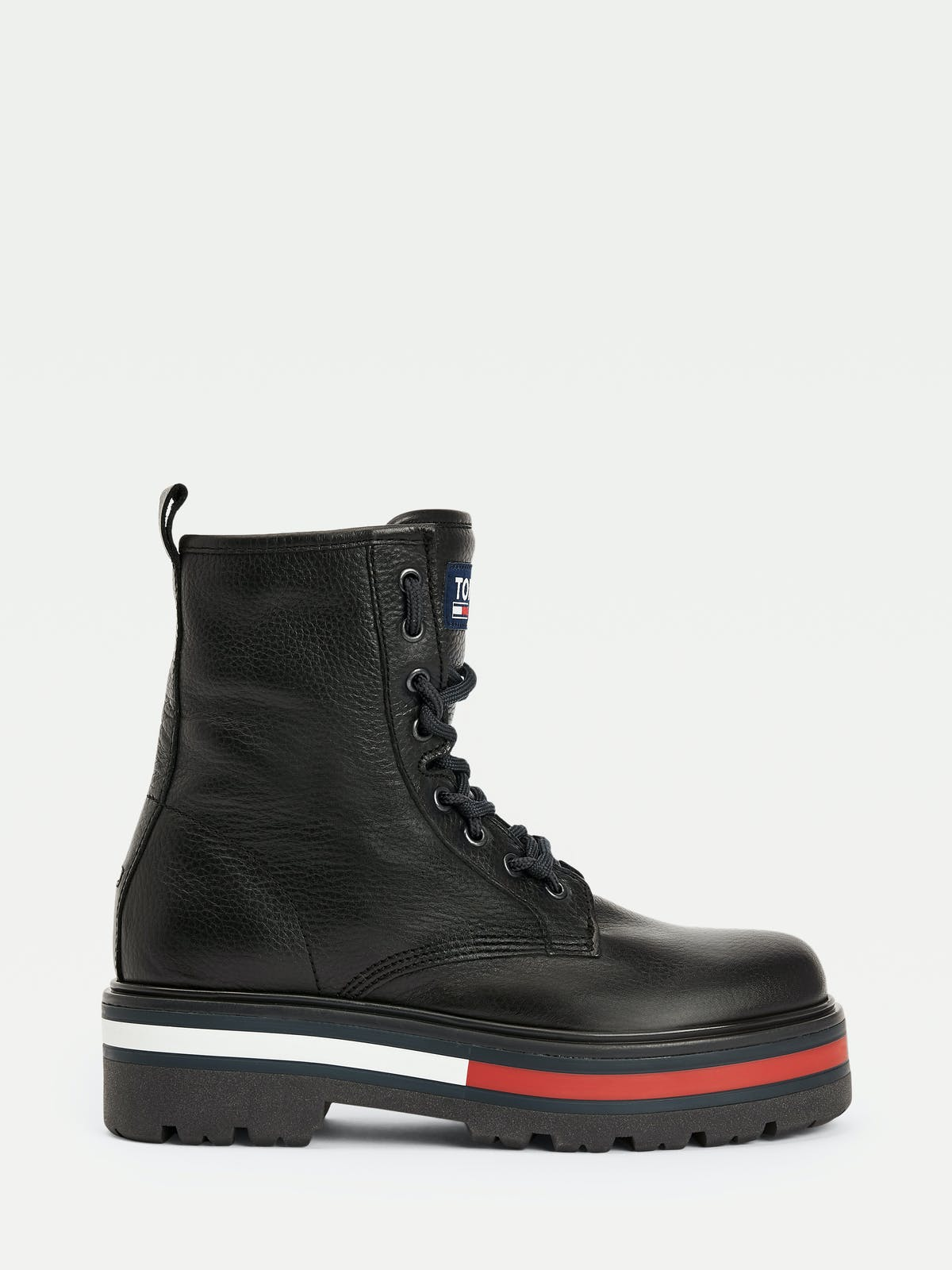 LACE UP FLAG LEATHER BOOTS