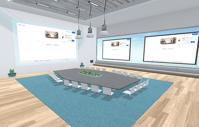 Virbela Virtual Boardroom Featuring a Large rectangle table on a blue carpet