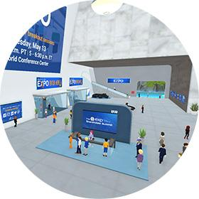 Virbela Virtual Events Image Featuring a Large exhibition hall for virtual expos and trade shows.
