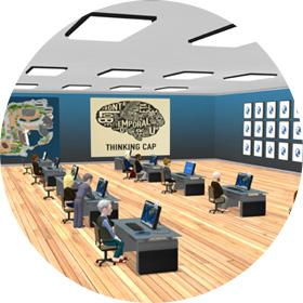Virbela Remote Learning Image featuring a virtual, engaging. immersive classroom  with students at their virtual desks.