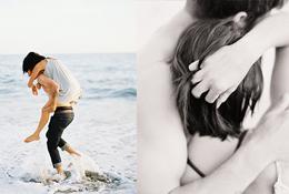 A portrait of a couple splashing in the ocean and a portrait of a couple embracing