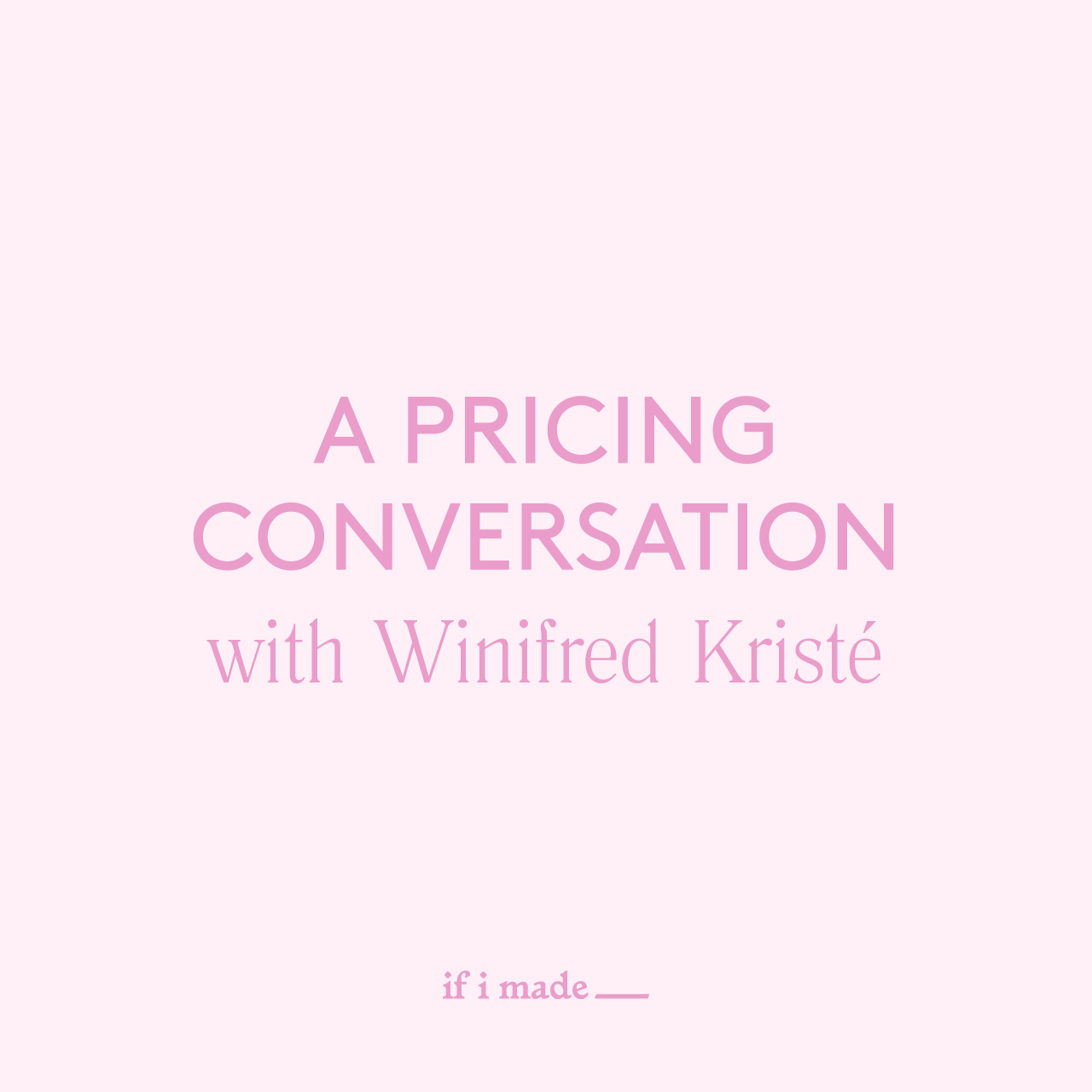 A Pricing Conversation
