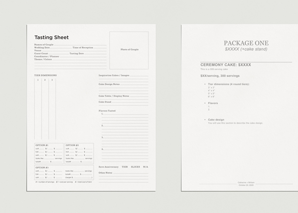 Proposal and Tasting Template