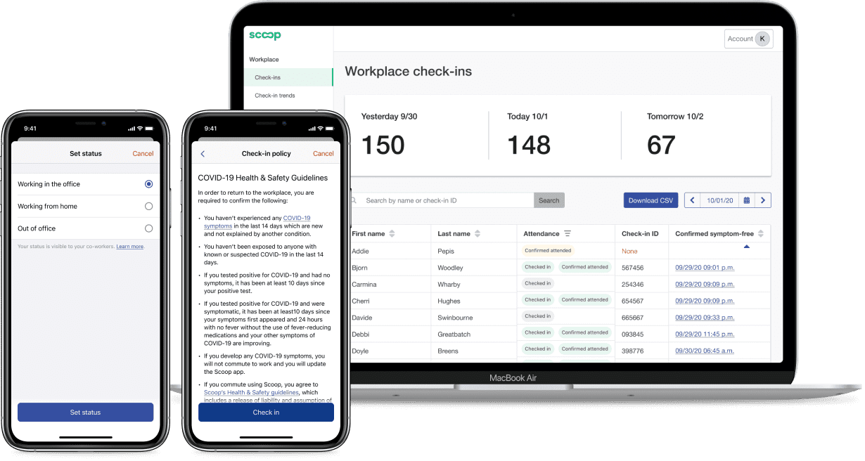 Mobile and web screenshots of Scoop's safety survey for COVID and real-time data of office check-ins from hybrid employees.