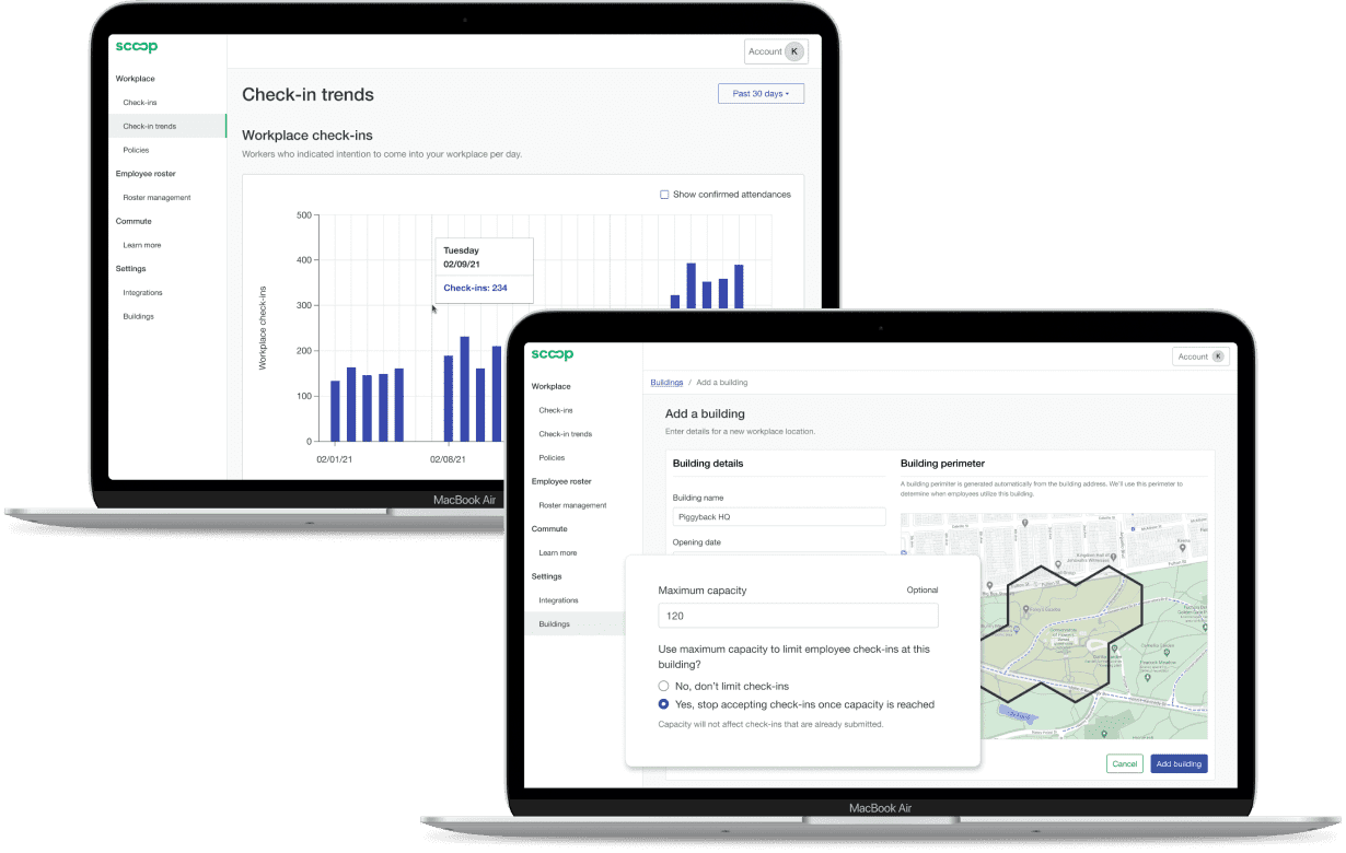 Screenshot of Scoop's web dashboard with graphs of attendance trends for hybrid employees and an interface for creating an employer building for office location.