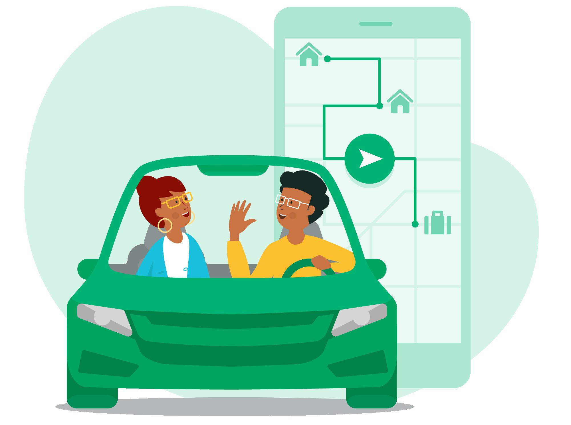 An illustration of a carpool trip.