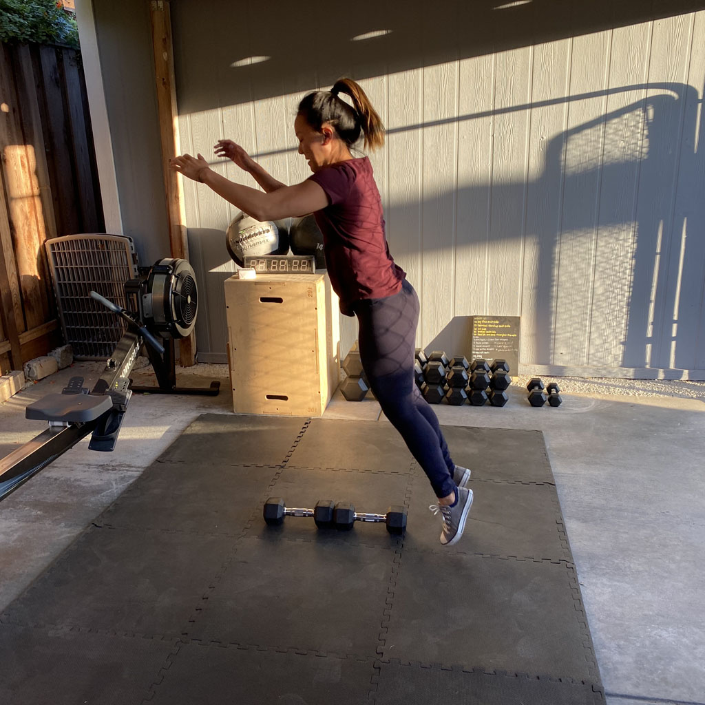 Double Dumbbell Jump Over