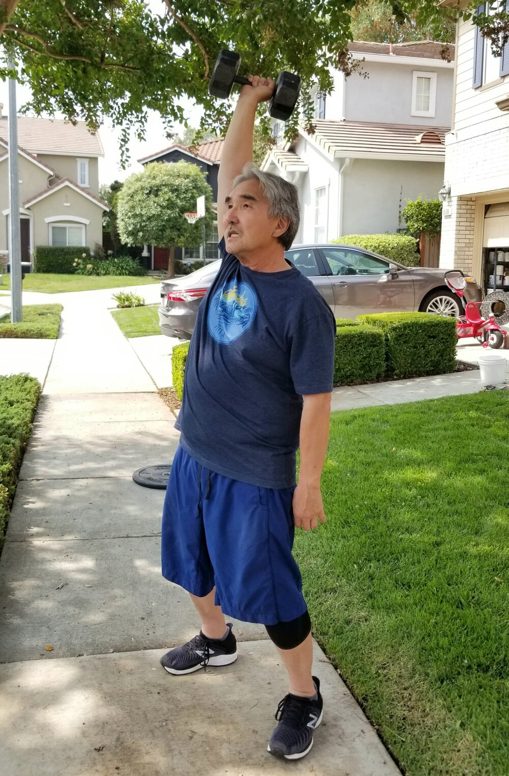 """""""Due to COVID I now work out in my driveway. I limit exposure to public places, so getting outside to work out is a release. I started doing Blue J's daily workouts at home and am able to personalize exercises to my own comfort so I get in a great workout."""""""