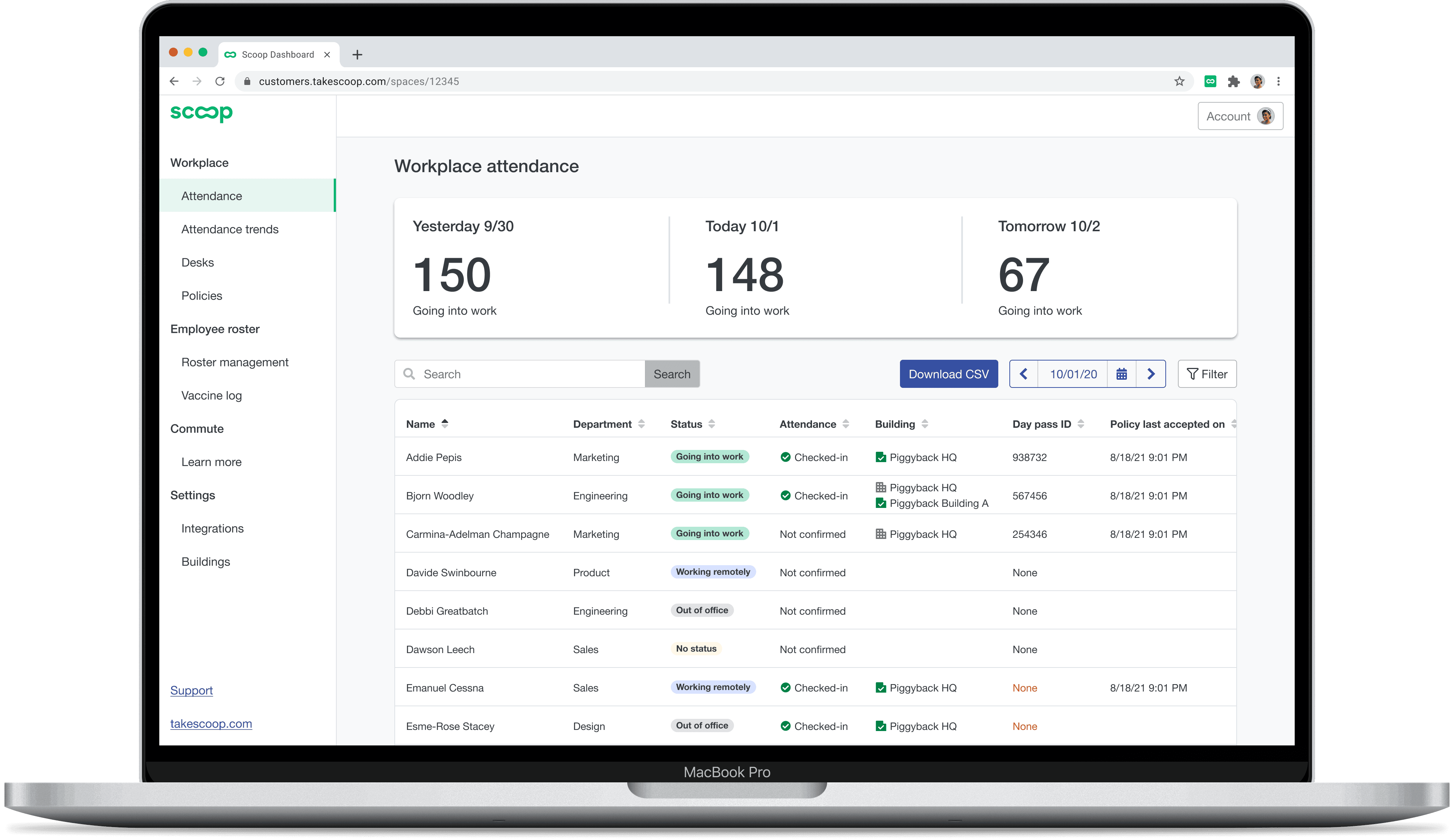 A screenshot of the Scoop attendance table where you can break down employee attendance data by status, building and/or by confirmed attendance, so you can hone in on what matters most at your workplace.