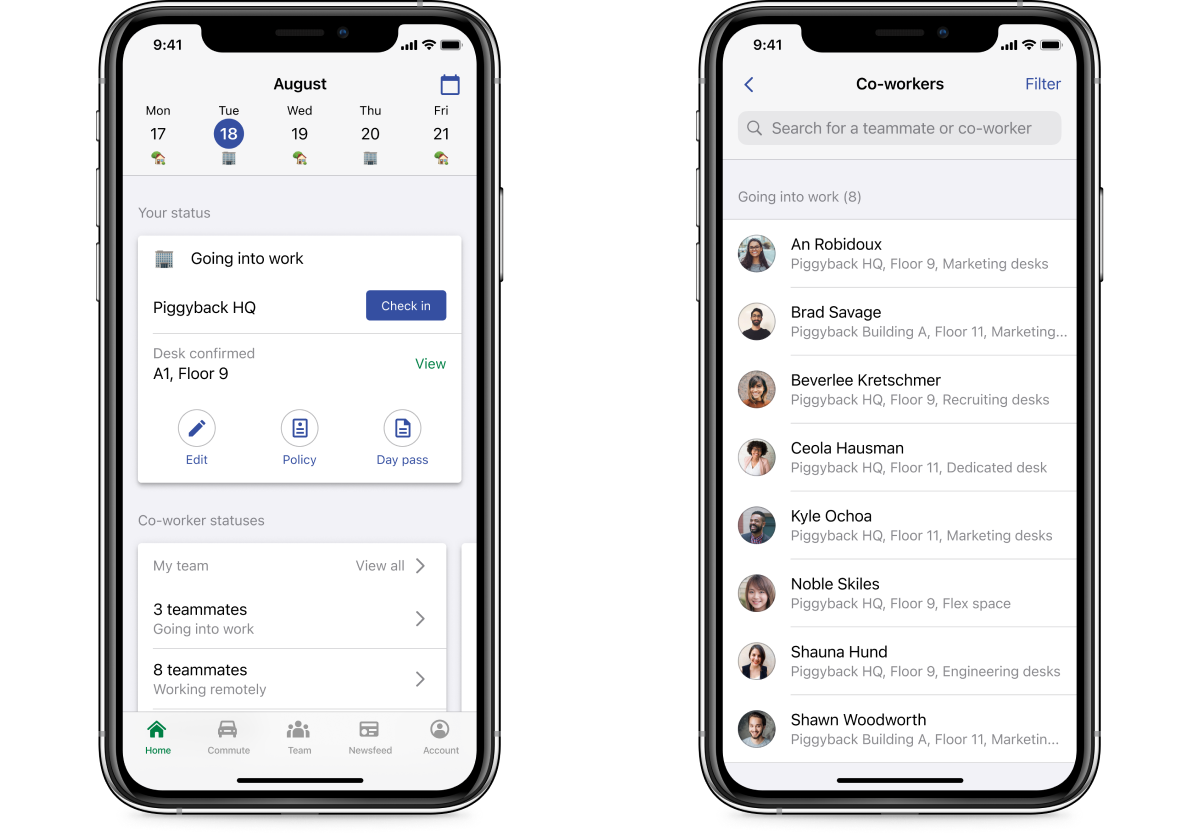 A side-by-side screenshot of the workplace check-in experience on the Scoop app, with the ability to see co-workers work location and daily status.