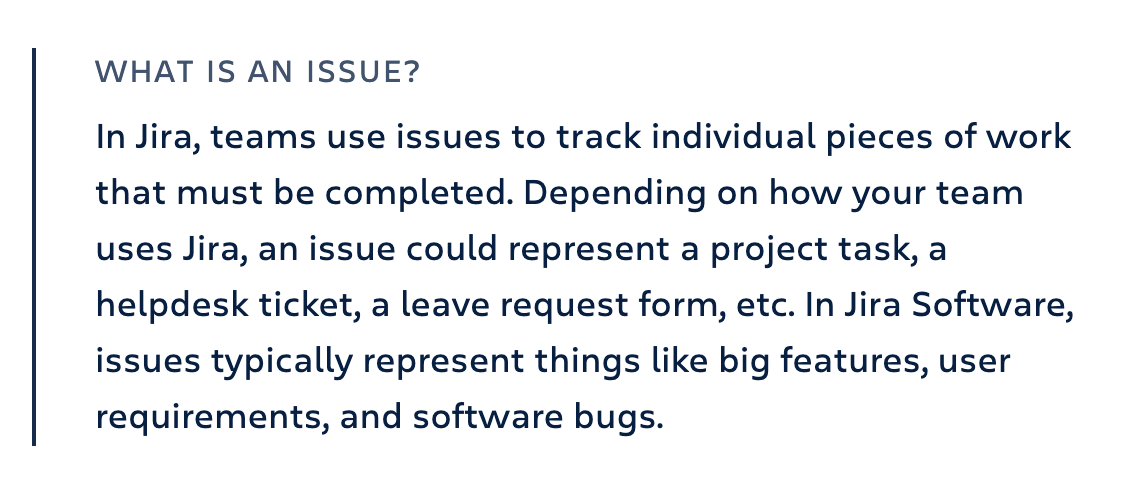 An explanation of what a Jira Issue is