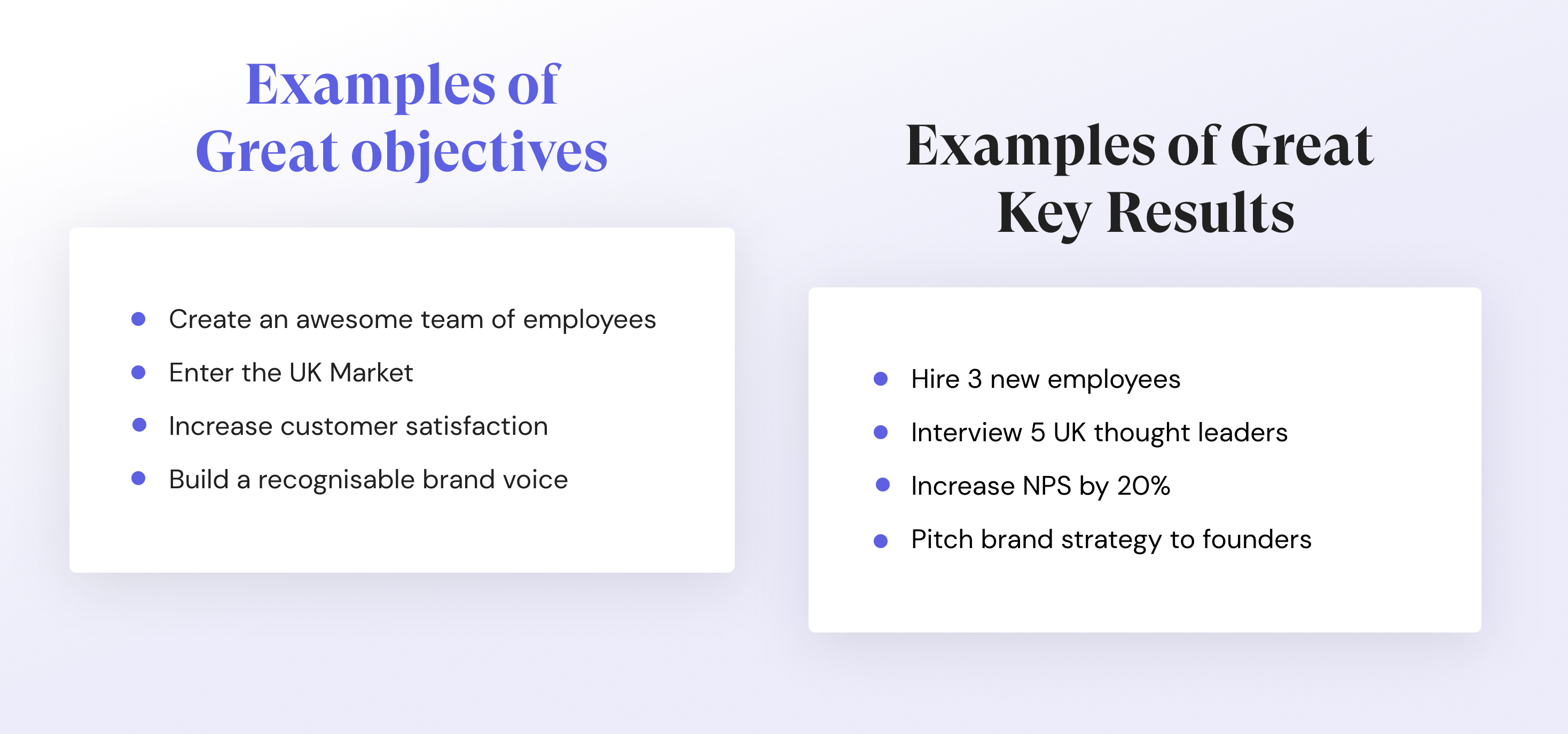 Examples of great objectives and key results