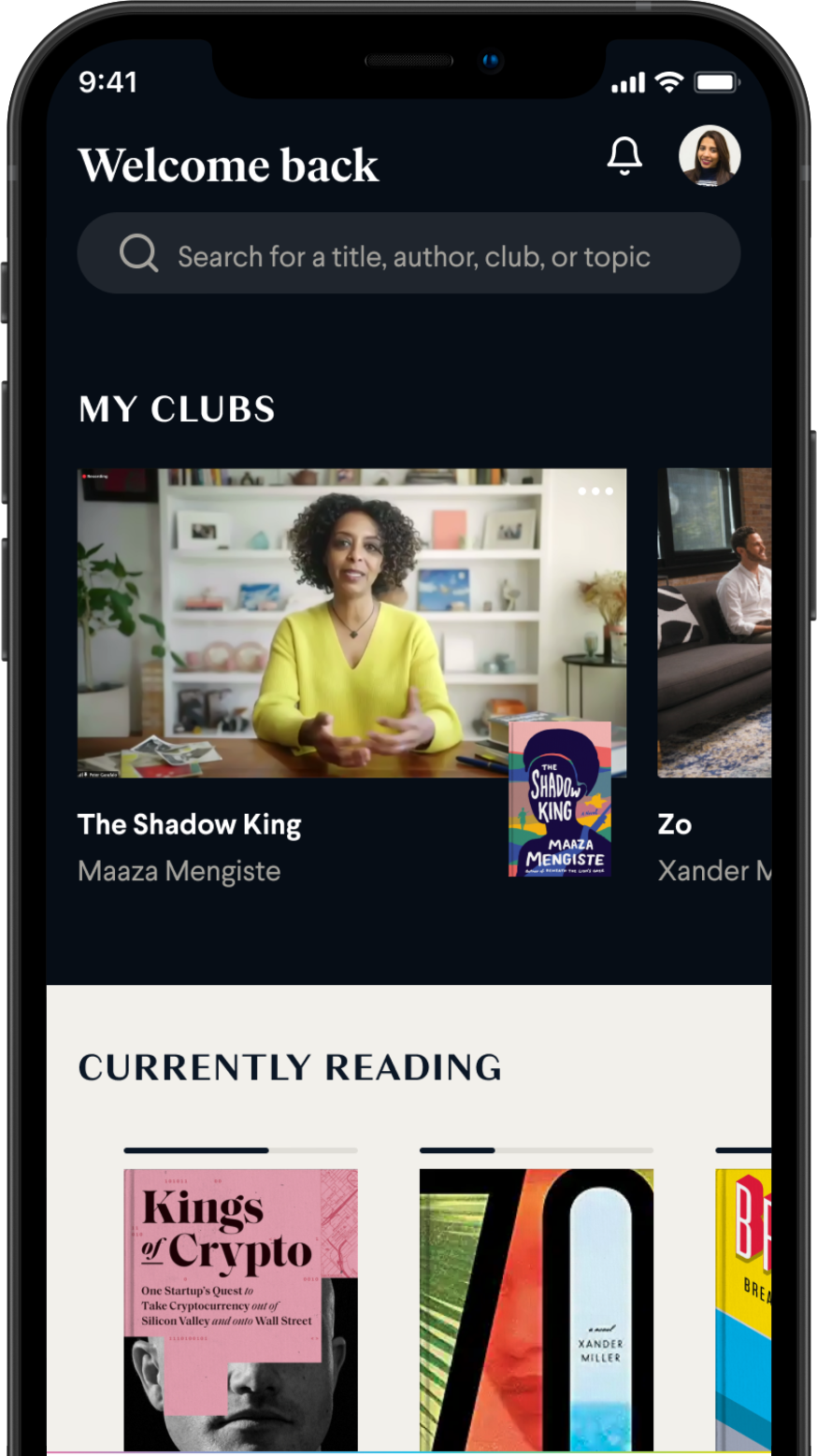 Homepage of BookClub mobile app. Features images of author Maaza Mengiste as well as the books Kings of Crypto and Zo.